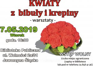 Warsztaty - kwiaty z bibuły i krepiny @ Biblioteka Publiczna